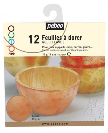 DECO FEUILLES A DORER CARNET DE 12 FEUILLES CUIVRE